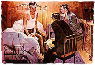 Man on bed being presented with plan of A.A. recovery.